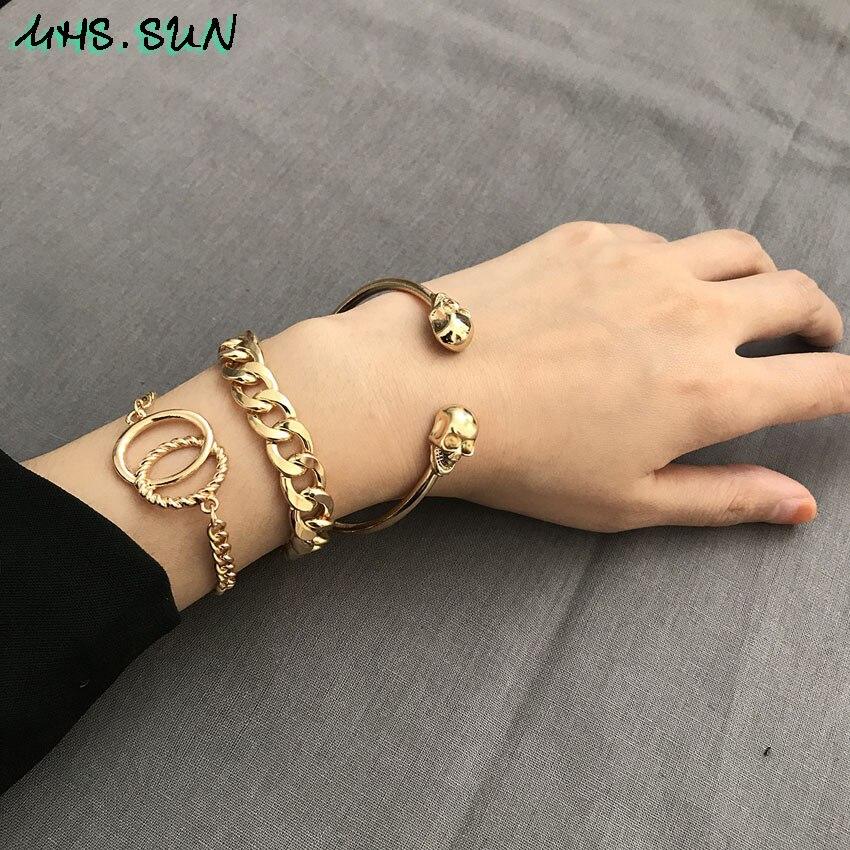 Skull Bangles Bracelets Gold Color