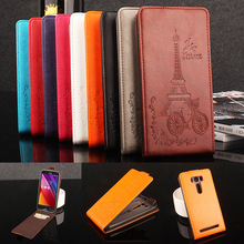 for Asus Zenfone 2 Lazer ZE500KL Case Flip PU+Plastic Holder Card Slot Wallet Magnetic Tower Pattern Vintage for Asus ZE500KL