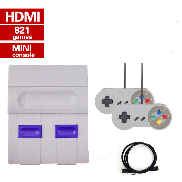 Mini HD HDMI TV Video Game Console Handheld Retro Family Game Console Built-In 821 Classic for SNES games Dual gamepad PAL amp NTSC