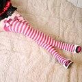 Meninas arco personalidade doces do vintage over the knee meias tarja meias sexy doces meias meias listras