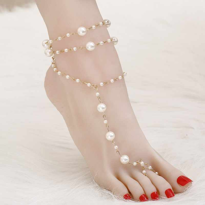 7e09920f34687 ZOZHI Brand Anklet 1 PC Bridal Barefoot Sandals Simulated Pearl MultiLayer  Anklet Wedding Beach Foot Jewelry Wholesale Jewelry