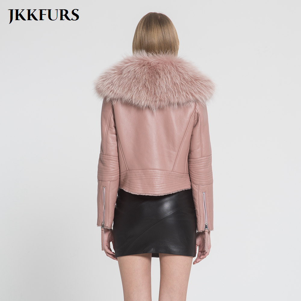 New Women 39 s Genuine Leather Coat Real Fur Lined Coat Fashion Thick Warm Raccoon Fur Collar Double Face Biker Jacket S7009 in Real Fur from Women 39 s Clothing
