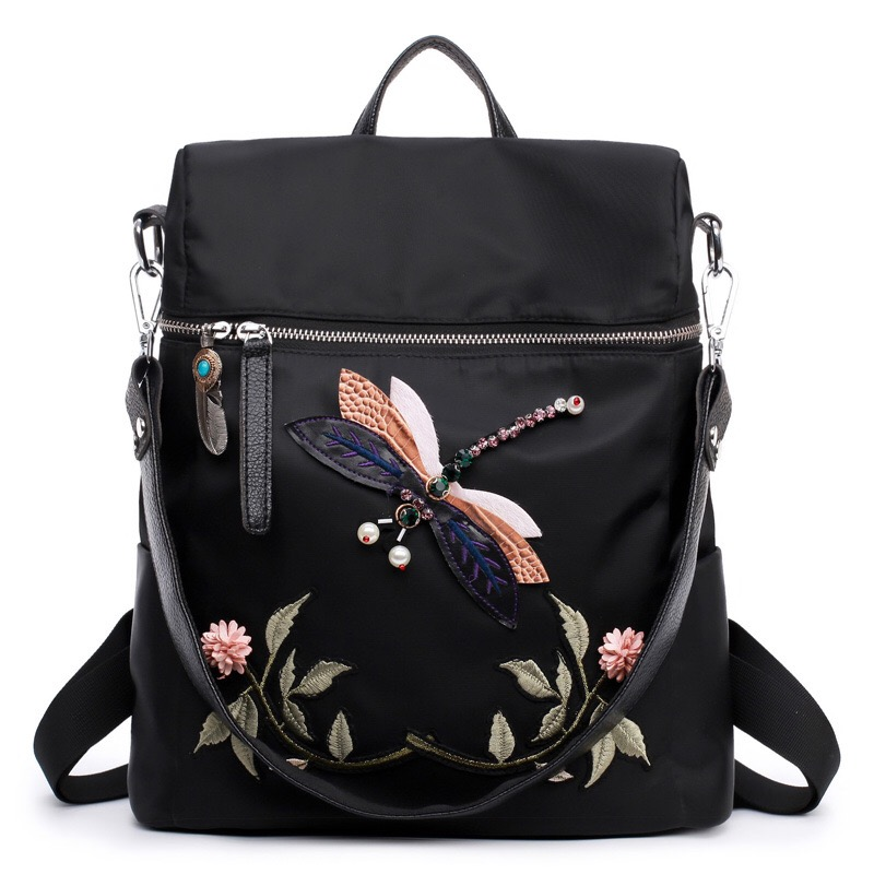 2017 Fashion Oxford Embroidery Double Shoulder Backpack Student Travel Bag Backpack Laptop School Bags Teenager Girls Women Back 2017 fashion women waterproof oxford backpack famous designers brand shoulder bag leisure backpack for girl and college student
