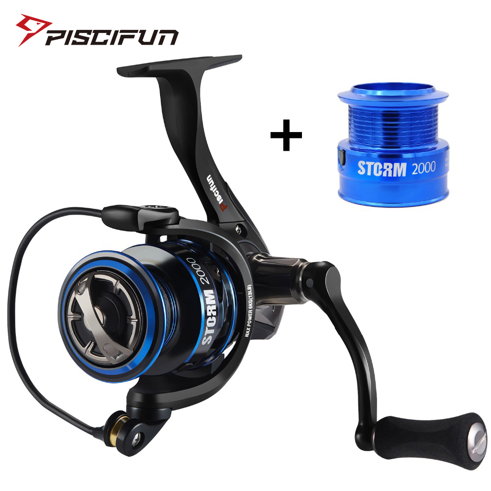 Piscifun Spinning Reel with Spare Shallow Spool 6.2:1 Gear Ratio 11 Ball Bearings 10KG Max Drag 2000,3000,4000,5000 Fishing Reel