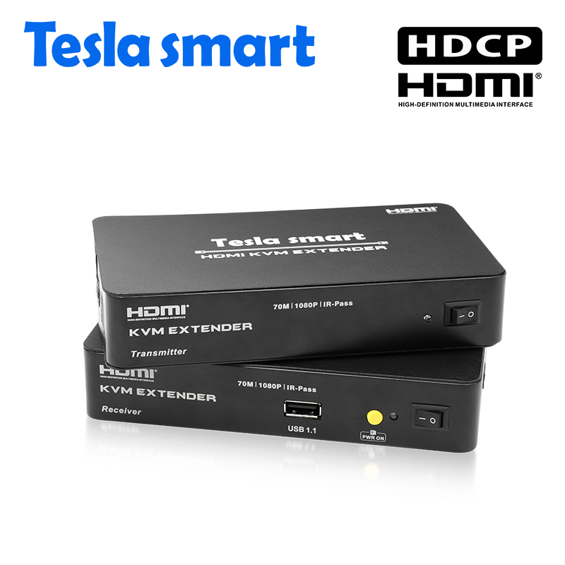 Tesla Smart Multi-function HDMI KVM Extender 70m USB HDMI IR KVM + Audio Extender By CAT5e/6 (1 Extender TX+1 Extender RX)
