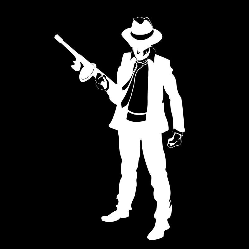 10.2cm*17.3cm Mafia Gangster Gun Bandit Vinyl Stickers Decals V21-5885