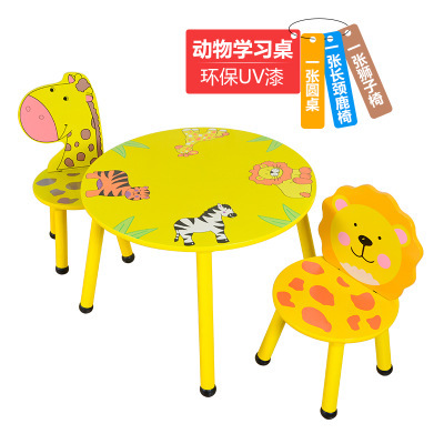 Children Furniture Sets one desk+two chairs sets solid wood kids Furniture sets cartoon animal kids chair and study table sets