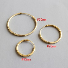 Real 925 Sterling Silver Round Circle Hoop Earrings for Women Gold Color Jewelry Gift 15mm 20mm 30mm