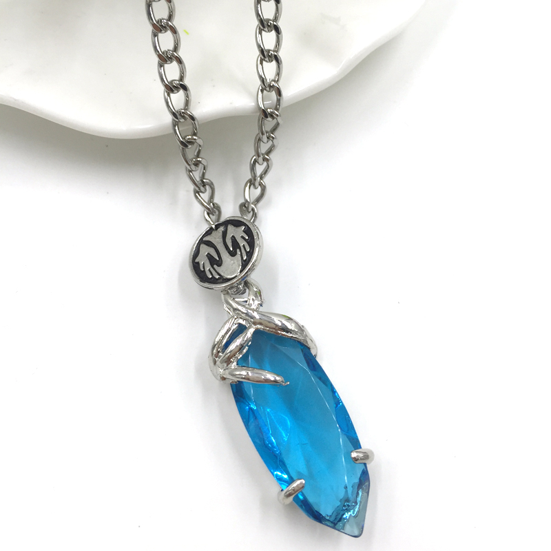 3d game final fantasy crystal chronicles yuna necklace blue crystal 3d game final fantasy crystal chronicles yuna necklace blue crystal drop pendants classic punk women and men statement necklace in pendant necklaces from aloadofball Images