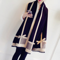 Europe  Bowknot Imitation Cashmere Scarf for Lady In The Streets Joker Shawl Contracted Fashion Centers Around Women