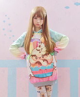 12 styles Soft Sister Sweatshirt Pretty Lolita Sweet Hoodies Harajuku Bunny Printed Pullover Women Winter Thick Fleece Pullovers