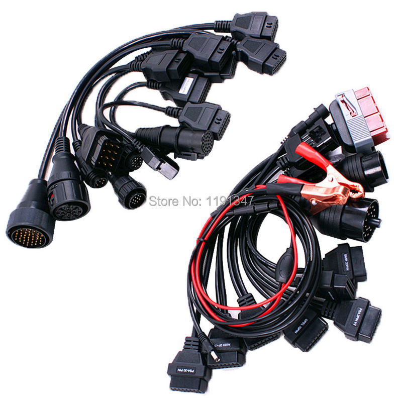 Hot Selling Full Set 8pcs Car Cables and Full Set 8pcs Truck Cables Diagnostic Interface for