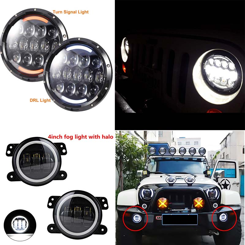 7 INCH 105W Round led headlight with DRL High/LOW Beam and 4'' led fog lights halo ring angel eyes for Jeep Wrangler JK TJ LJ pair 7 inch round high low led headlight with amber signal halo ring angle eyes with drl halo for 97 15 jeep wrangler jk tj
