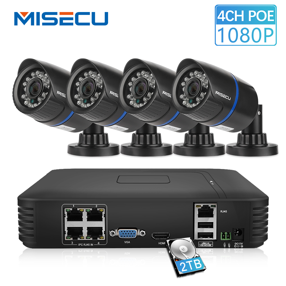MISECU 1080P POE NVR 4pcs 2.0mp PoE IP Camera P2P HDMI/VGA 1080P 1TB HDD Night IR Mobile View Outdoor CCTV Security Surveillance