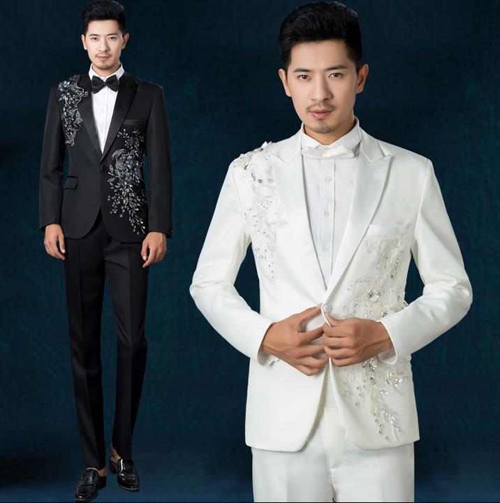 Noir blanc bleu rouge parquet fleurs 2019 nouveauté paillettes costume ensemble hommes costume mariage marié hommes slim fit costumes + pantalon + cravate
