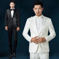 Black White Blue Red Parquet Flowers 2016 New Arrival Sequins Suit Set Mens Suit Wedding Groom