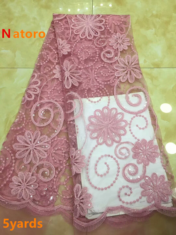 African Lace Fabric 2018 High Quality Tulle Lace Fabric with sequins African French Net Lace Fabric For Eveing Dress dpA152