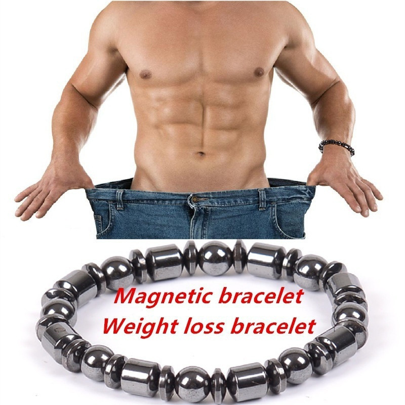 1pcs Magnetic Round Black Stone Healthcare Bracelets Slimming Healthy Stimulating Therapy for Men Women Weight Loss Bracelet