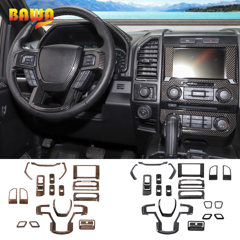 Moulures intérieures BAWA pour Ford F150 2015 + autocollants de décoration intérieure en Fiber de carbone