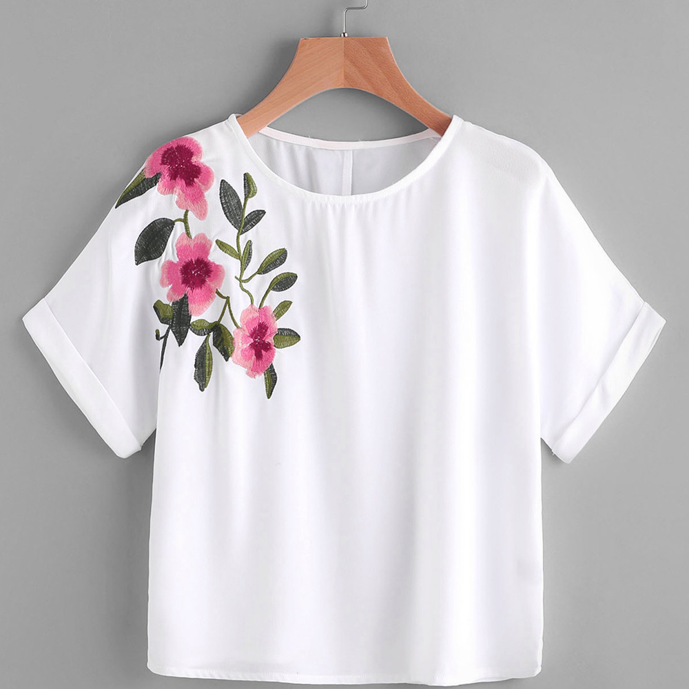 Women t shirt flower embroidery short sleeve cropped