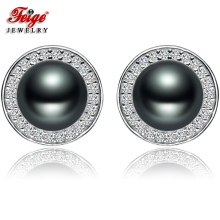 цена FEIGE New design 7-8mm Black Freshwater Pearl Stud Earring for Women Retro Style 925 Sterling Silver Earrings Fine Pearl Jewelry в интернет-магазинах