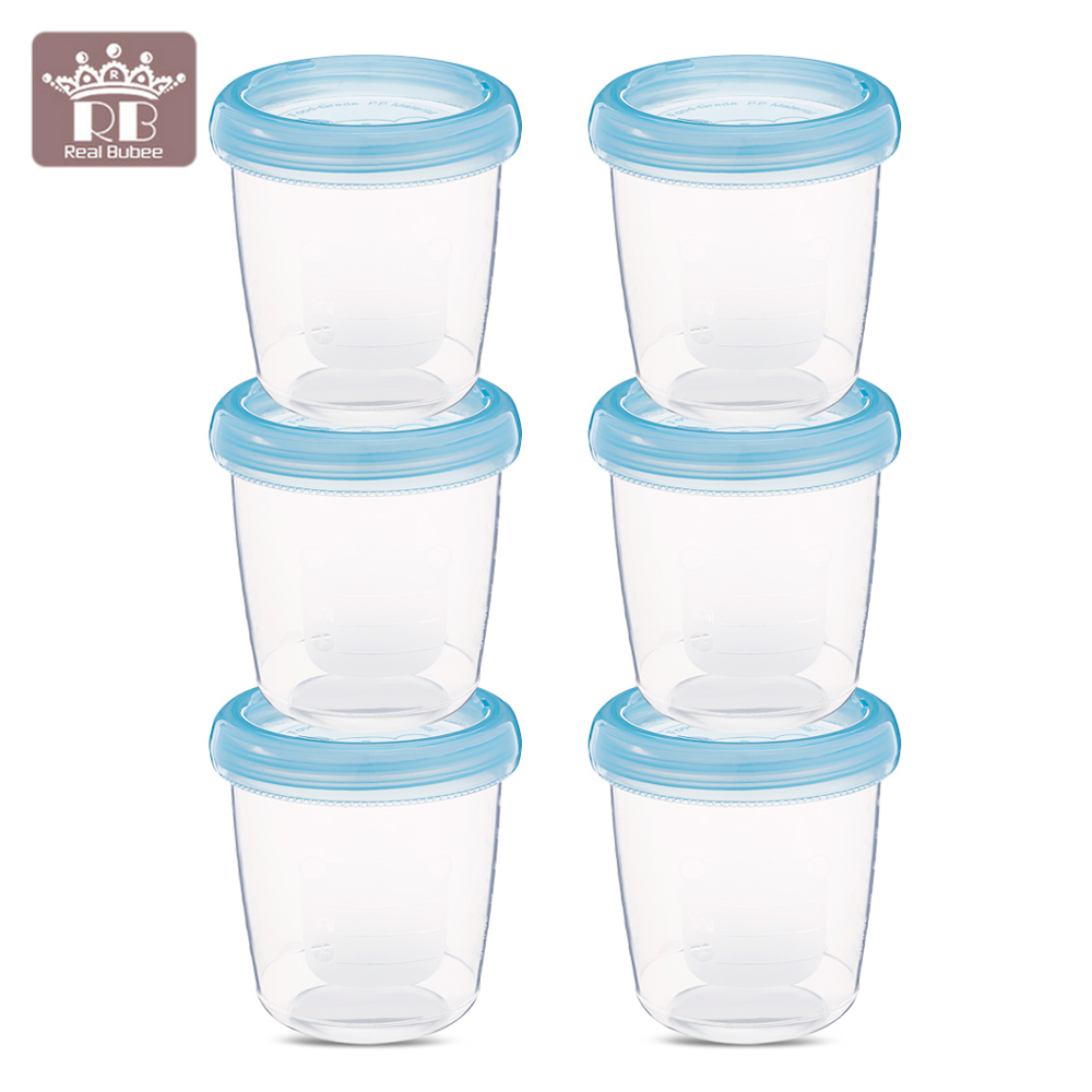 RealBubee 6pcs 180ml Baby Food Storage Fruit Juice Storage Seal Preservation Cups Box Breast Milk Storage Fresh Cups