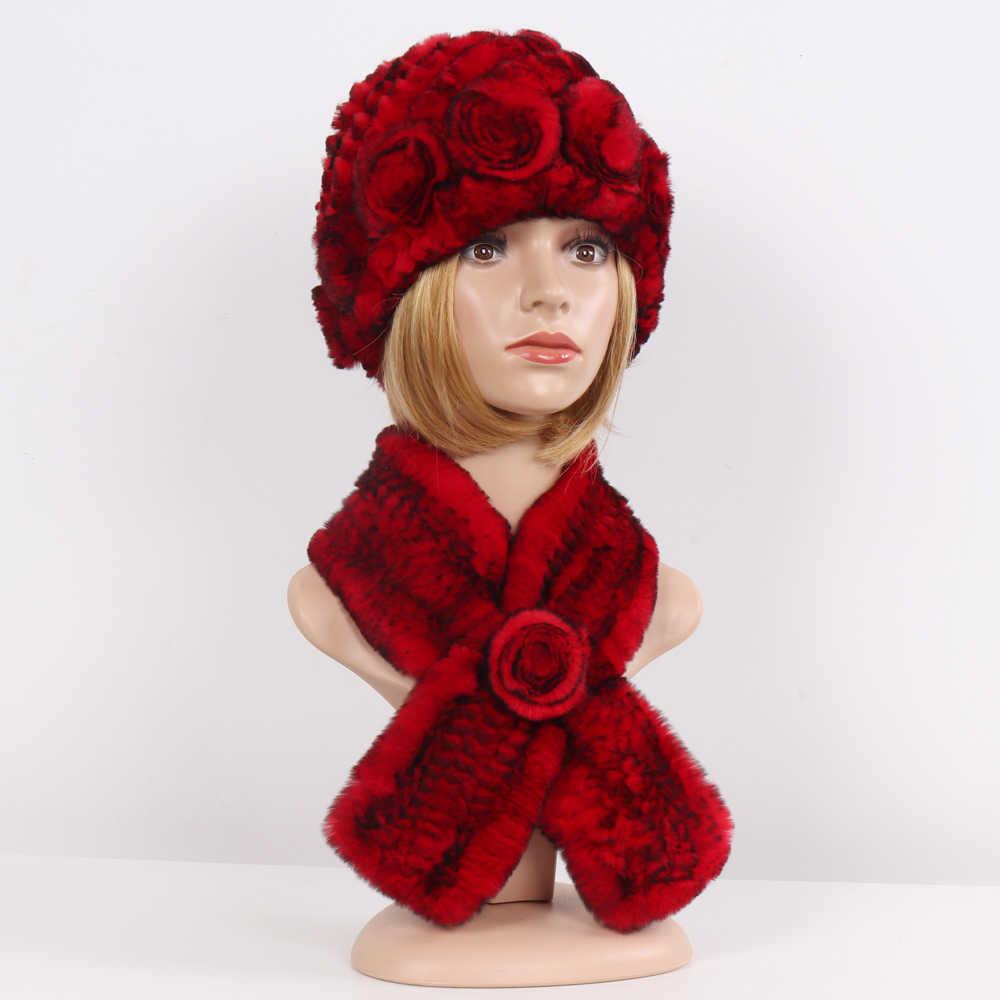 Горячая Распродажа женские 100% шапки из натурального меха наборы шарфов женские зимние вязаные Настоящий мех кролика шапки муфельные 2 шт. натуральный мех шапка шарф
