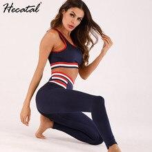 Conjunto esportivo feminino top e legging, peça conjunto fitness listrado yoga conjuntos de conjuntos