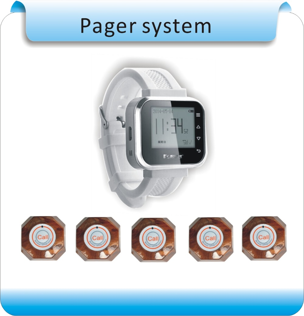 Kerui Wireless Waiter calling Waiter Service Calling System For Bank Restaurant Hotel,1 Watch+5 Buttons wrist pagers wireless waiter call system top sales restaurant service 433 92mhz service bell for a restaurant ce 1 watch 10 call button