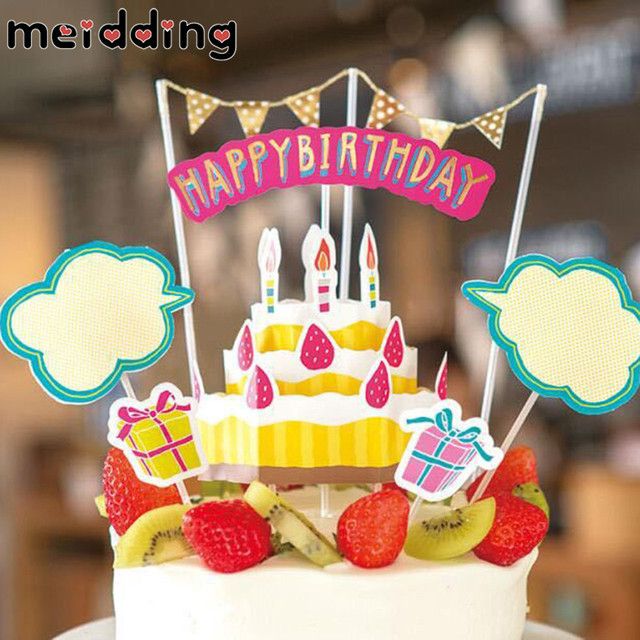 Meidding 1set Lovely Cartoon Kids Birthday Cake Topper Baby Shower