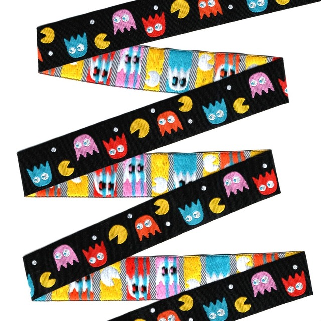 """2014 NEW wholesale 5/8""""+7/8""""(16mm+22mm 20y/lots) Polyester Woven Jacquard Ribbon For Dog Collar demon/Pac Man"""
