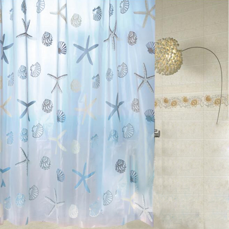 200200cm peva green materials bathroom shower curtains thickening waterproof bathroom curtain with starfish pattern