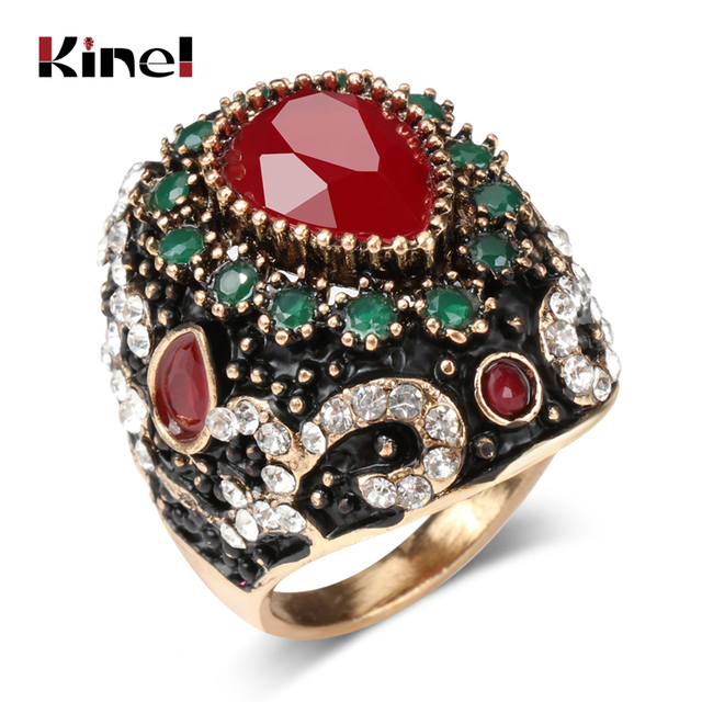 Kinel Hot Big Crystal Flower Rings Turkish Vintage Wedding Jewelry Antique Gold