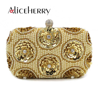 Aliceherry Luxury Handbags Women Bags Designer High Quality Beading Diamond Ladies Gold Silver Wedding Evening Clutch
