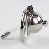Versetzt ring aus Kurzen Keuschheitskäfig mit Neue Schloss und abnehmbare silikonschlauch Harnröhren Sound