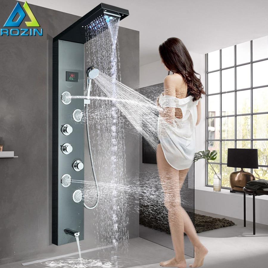 Écran numérique noir panneau de douche mural lumière LED ensemble de douche colonne de douche tour 3 poignée 2 fonctions Jet de Massage