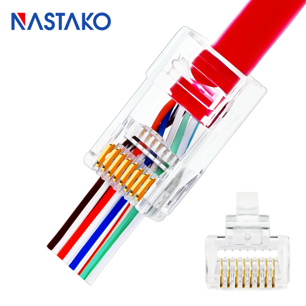 NASTAKO Cat5 Cat5e Cat6 Connector RJ45 Connector Network ez RJ45 Cat6 Ethernet Cable Plug Unshielded Modular UTP Have Hole RJ-45 new 2 color remote control railway name rc train rail electric bullet train toy high speed rc toys car model road power children