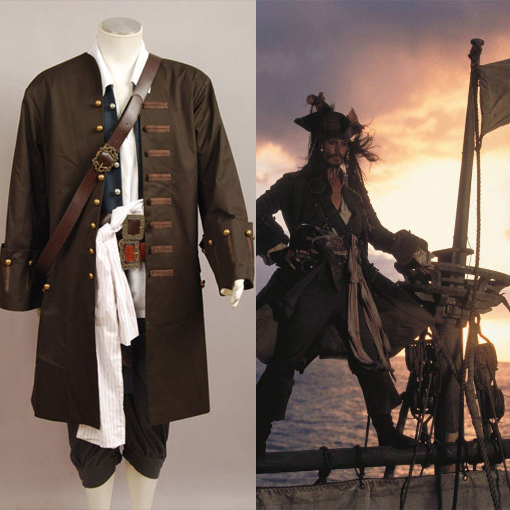 Pirates Of The Caribbean Jack Sparrow Cosplay Costume Jacket Vest Belt Shirt Pants Costume Full Set