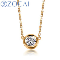 ZOCAI Brand Necklace 18K gold 0.14 ct round cut diamond necklace round shape 18K rose gold / white gold /yellow gold available