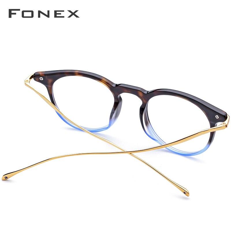 B titane acétate optique lunettes cadre hommes Vintage Prescription lunettes 2019 femmes rétro ronde myopie lunettes de vue 857 - 3