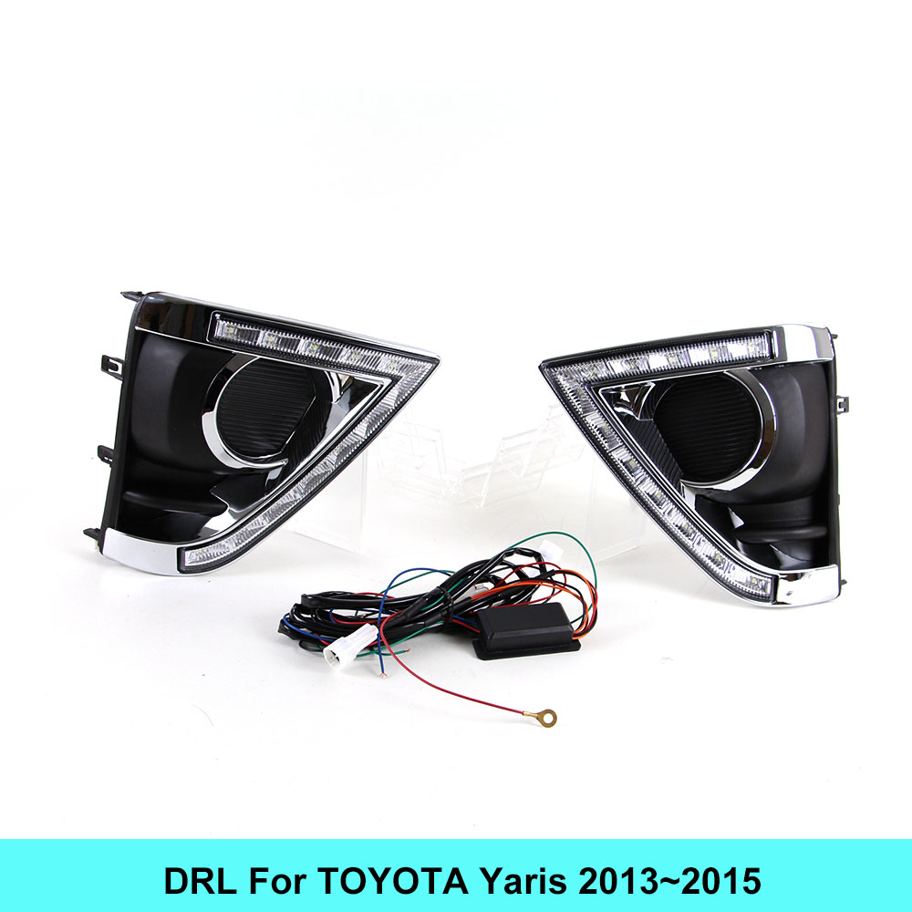 Car DRL kit for Toyota Yaris 2013 2014 2015 Daytime Running Light Bar turn signal fog lamp bulb daylight auto led drl light 12V for toyota innova 2013 2014 2015 turn