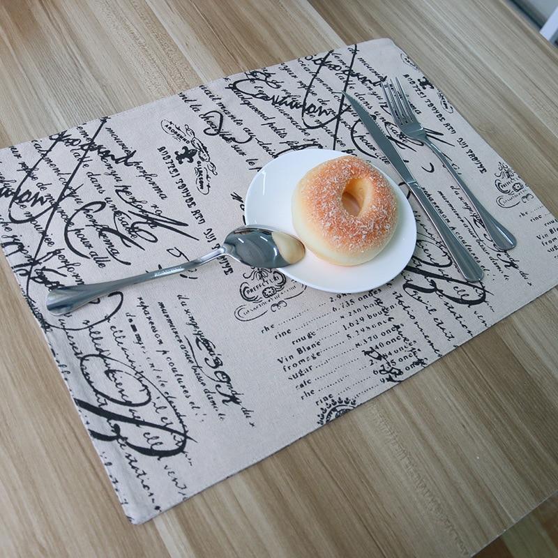 Linen mats pads europe stamp 32x45cm 4pcs set placemat - Set de table crochet ...