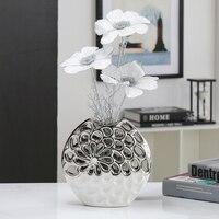 전기 도자기 세라믹 꽃병 흰색 꽃 장식품 공예 작품 덴 테이블 장식 독특한 선물 깜짝 선물