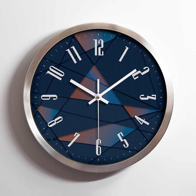 12 นิ้ว Modern Silent Wall นาฬิกานาฬิกาควอตซ์สแตนเลสสตีลนาฬิกากรอบบ้านคริสต์มาสปีใหม่ตกแต่ง