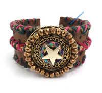 Nuevos proveedores europeos de joyería pulsera tejida hecha a mano pulsera ancha de cuero para mujeres con estrella