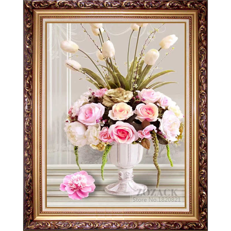 DIY Needlework,Cotton Thread DMC Cross stitch,Embroidery kit, Printed On Fabric,flowers,Rose Vase Printed pattern Cross-stitch