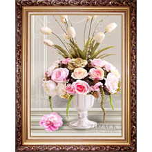 DIY Needlework,Cotton Thread DMC Cross stitch,Embroidery kit, Printed On Fabric,flowers,Rose Vase Printed pattern Cross-stitch(China)
