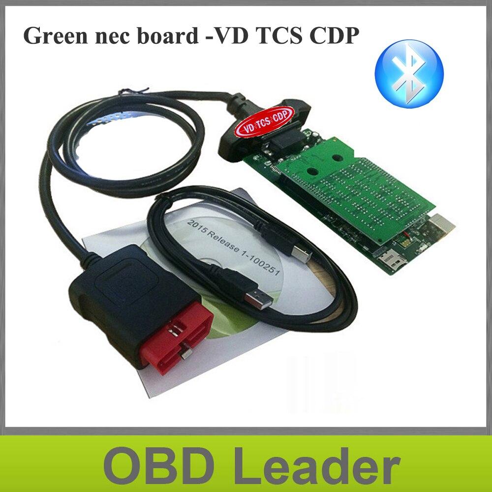 Prix pour Avec Vert Nec relais nouveau vci bluetooth fonction vd tcs cdp pro multi-marque obd obd2 numérisation outil de travail pour les voitures camions 3in1