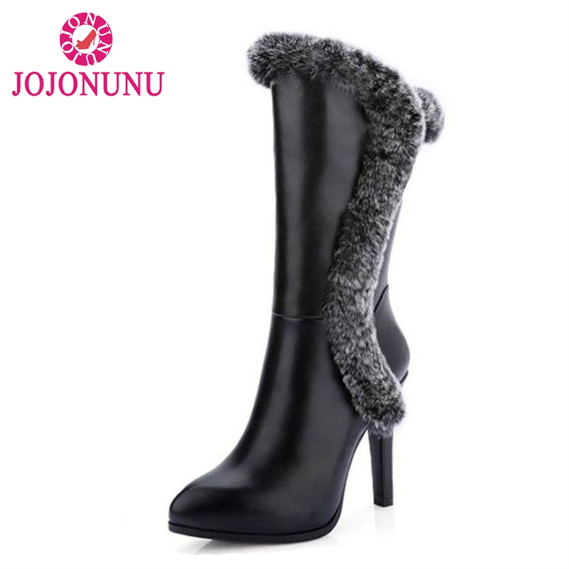 JOJONUNUWomen Real Leather High Heel Mid Calf Boots Women Pointed Toe Zip Shoes Women Winter Snow Botas With Fur Size 34-39