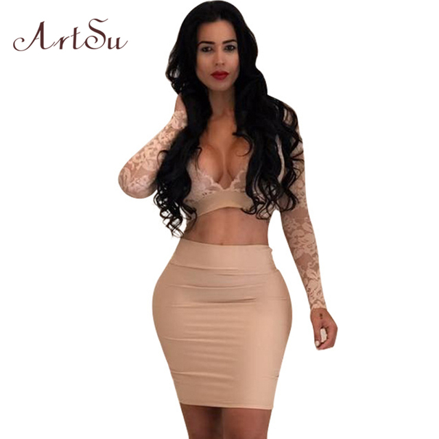 a65f0274cc5 ArtSu Sexy Autumn Club Lace Suit Women V Neck Crop Top High Waist Ruched  Skirt Two
